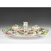 19th C. English Soft Paste Porcelain Floral Encrusted Inkstand
