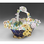 1830 English Coalport Porcelain Flower Encrusted Basket