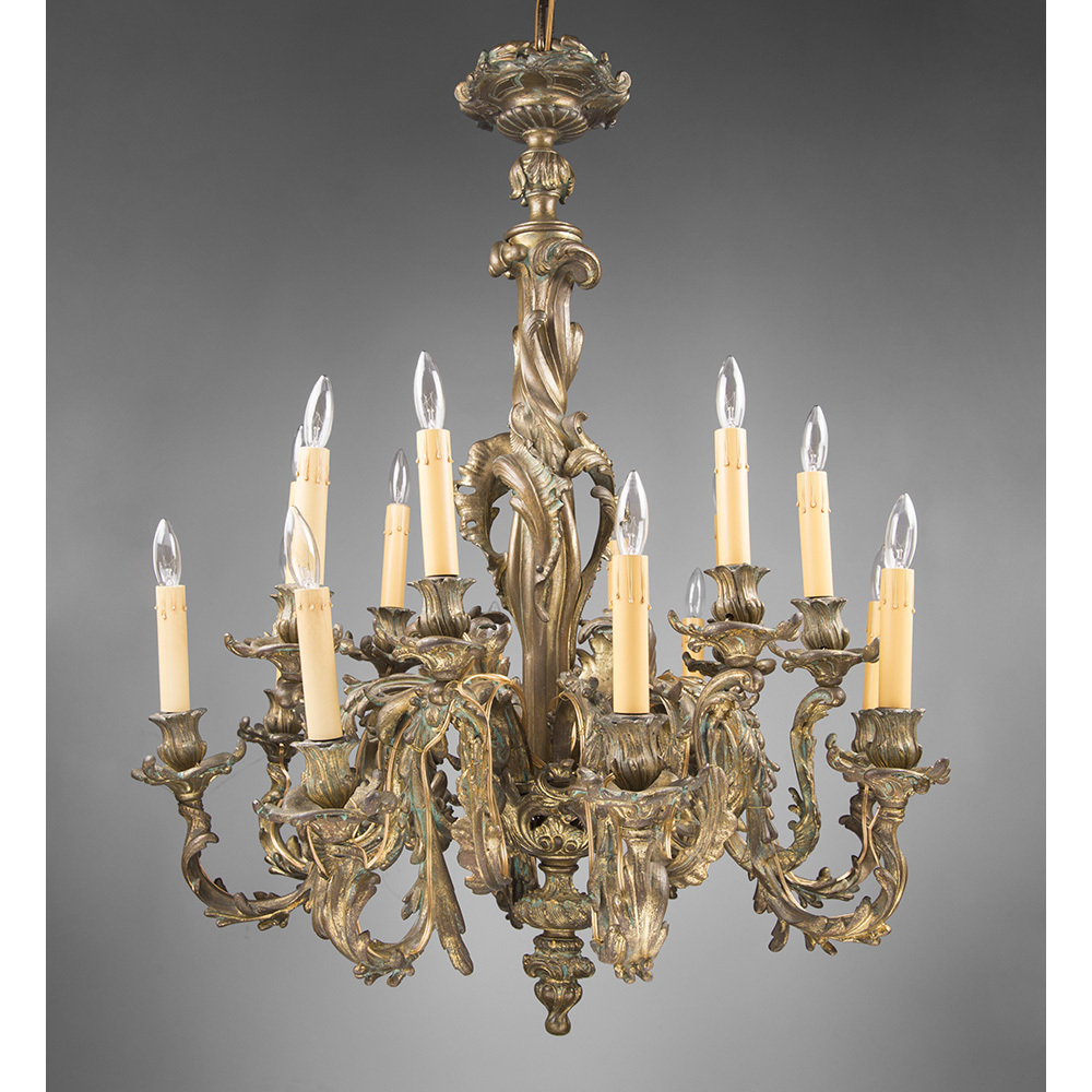 Late 19th C. Bronze Rococo 18 Light Chandelier