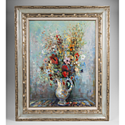 Circa 1960 Floral Oil Painting On Canvas By Lucien Delarue