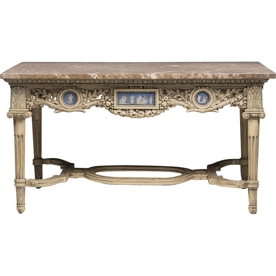English Adam Style Late 19th C. Coffee Table With Wedgwood Plaques