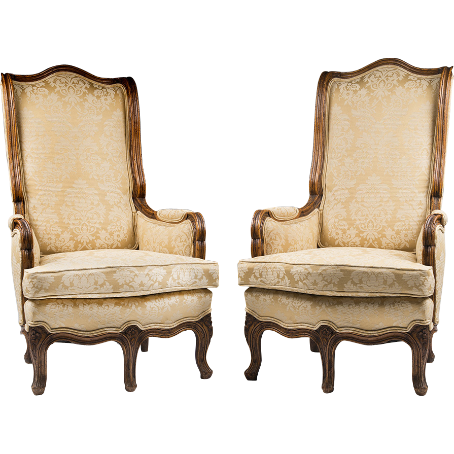 Pair of 19th C. Five Legged French Provincial Bergeres Or Armchairs