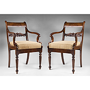 Pair of 19th C. Tiger Maple Armchairs In The Federal Manner