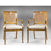 Pr. Of Sheraton Neo-Classical Style Painted Satinwood Armchairs With Cane