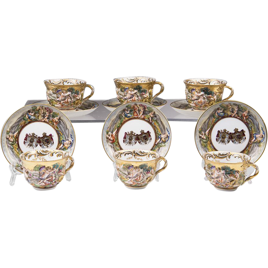 Set of Six Porcelain Capodimonte Style Cups & Saucers