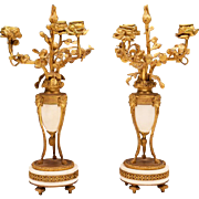 19th C. French Louis XV Bronze Mounted Marble Candelabras