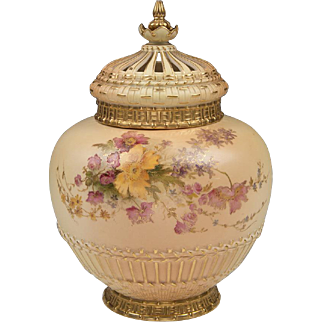 SALE Royal Worcester Potpourri Vase, Liner, And Cover, 1909