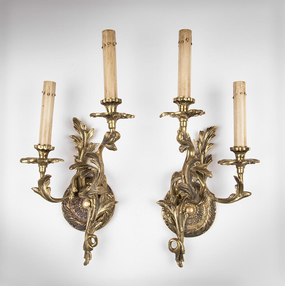 Pair of Mid 20th C. Brass Louis XV Style Rococo Lighted Sconces