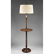 English Barley Twist Walnut Floor Lamp With Stand