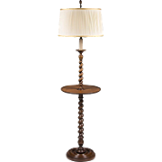 English Barley Twist Walnut Floor Lamp With Stand
