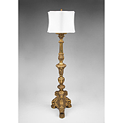 Baroque Style Baluster Shaped Italian Carved Giltwood Floor Lamp