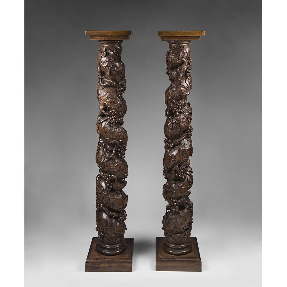 Pair of 18th C. Italian Walnut Carved Solomonic Columns