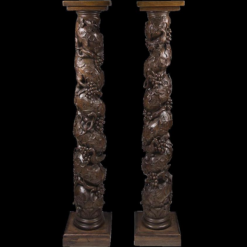Pair of 18th C. Italian Walnut Carved Solomonic Columns