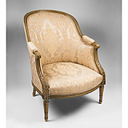 Belle Epoque Louis XVI Bergere en Gondole Chair With Painted Frame