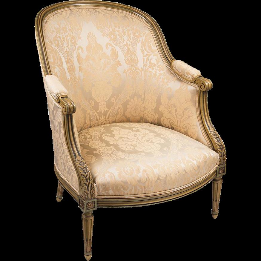 Belle Epoque Louis XVI Bergere en Gondole Chair With Painted Frame