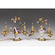 Pair of 19th C. French Vanity Lamps With Porcelain Figures