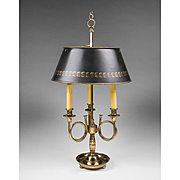 Early 20th C. Brass French Horn Bouillotte Lamp With Tole Shade