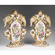 Pair of Vieux Paris Porcelain Rococo Vases