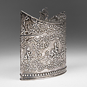 1900 Dutch Silver Embossed Tea Caddy