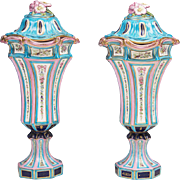 Pair of 18th C. Soft Paste Sevres Covered Urns