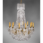 Mid 20th C. Signed Baccarat 12 Arm Crystal Chandelier