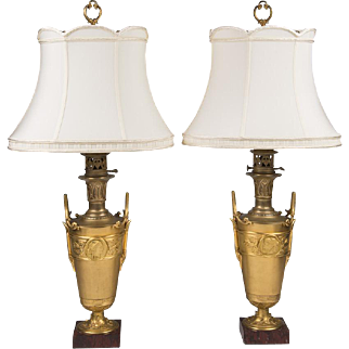 SALE Pair of Napoleon III Neoclassical Bronze Urns Fitted As Lamps