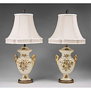 Pair of Hand Painted Urn-Shaped Porcelain Lamps