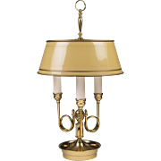 French Horn Bouillotte Lamp With Yellow Tole Shade