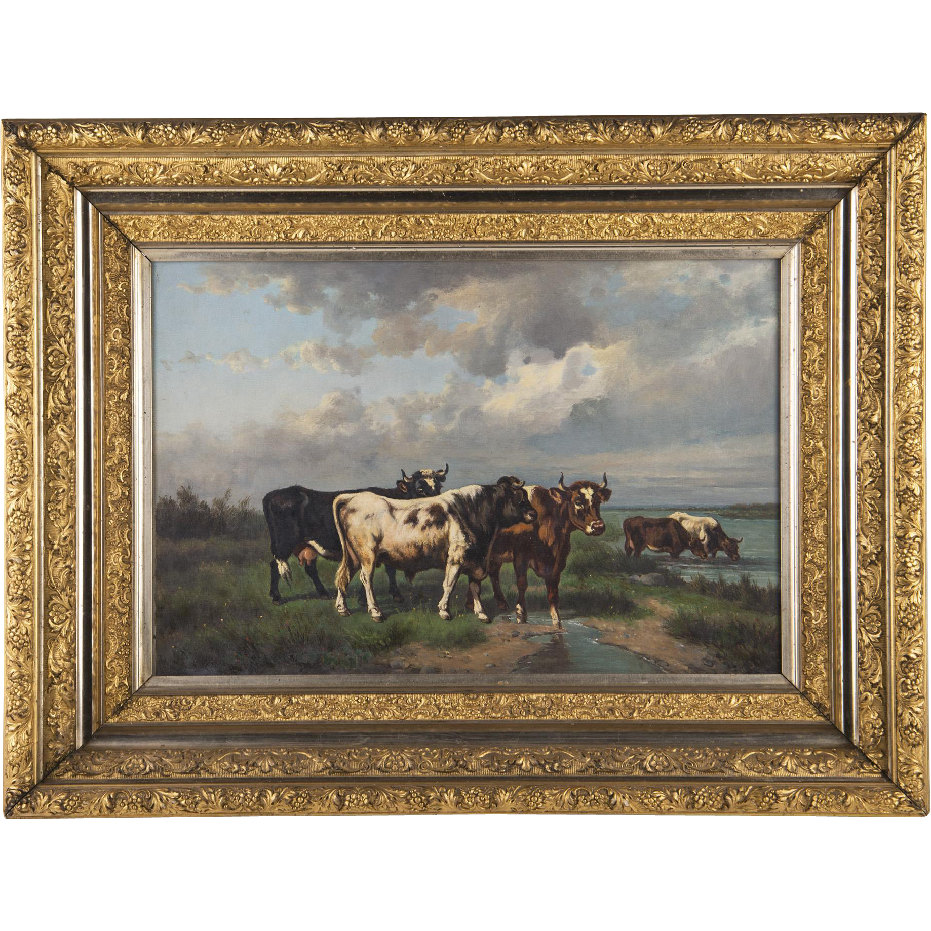Late Victorian American Oil On Canvas Of Cows In Gilt Carved Frame