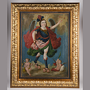 19th C. Spanish Colonial Or Cuzco School Painting Of the Archangel Michael