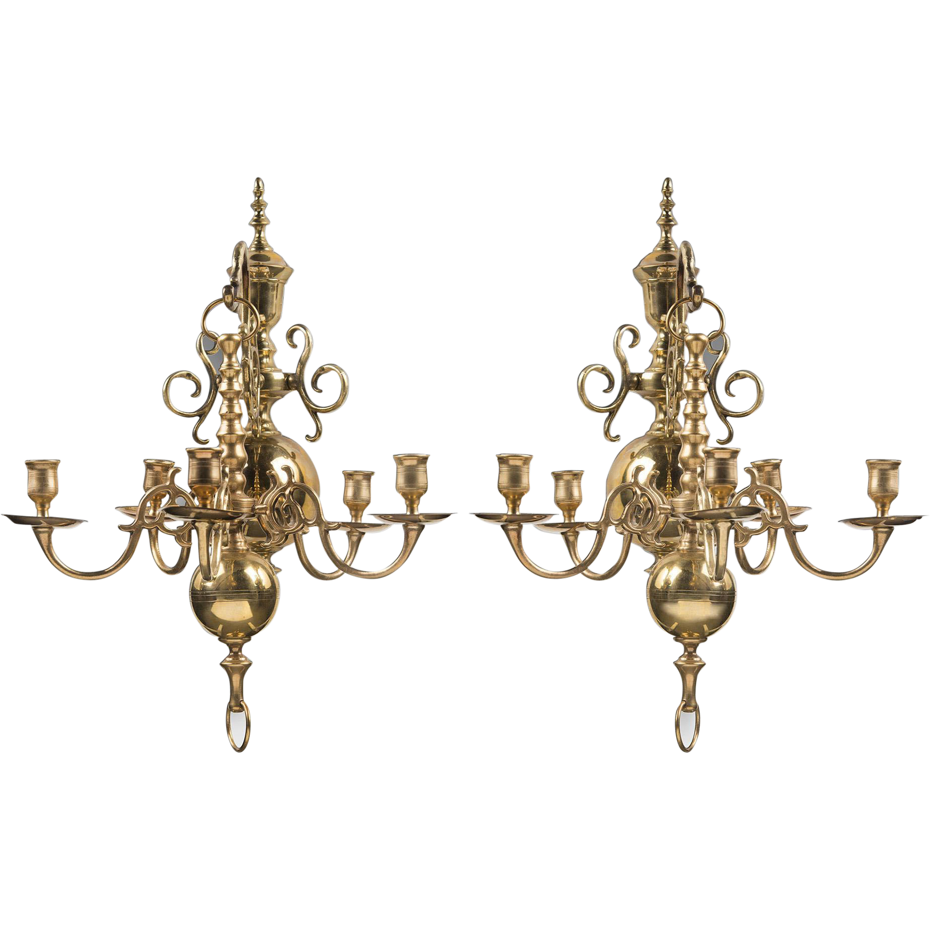 Pair of Early 20th C. Solid Brass Chandelier Wall Sconces, Dutch Manner