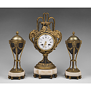 1900 Tiffany & Company Louis XVI Style French Garniture Clock Set
