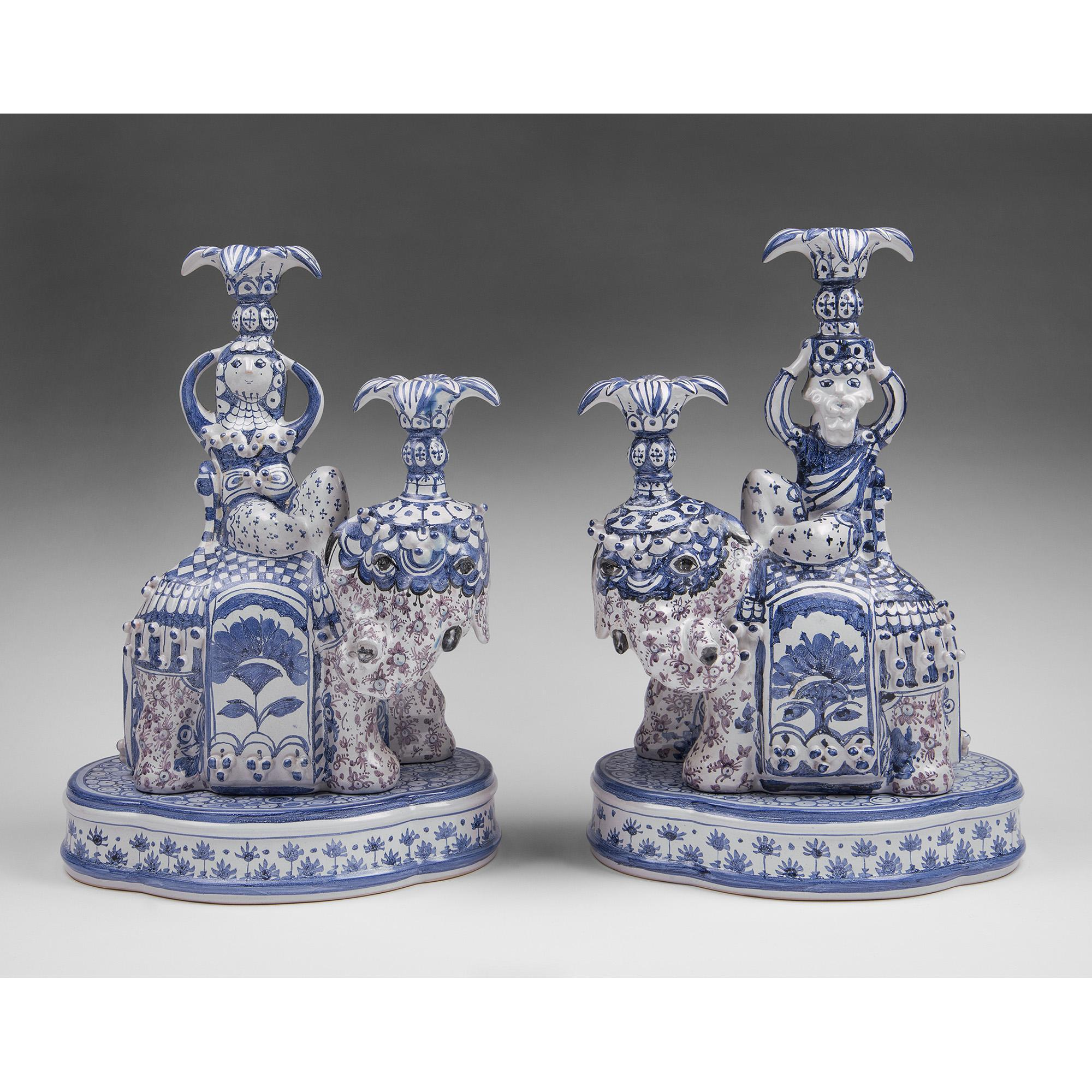 Bjorn Wiinblad Elephant Candlesticks, King And Queen Of Sheba