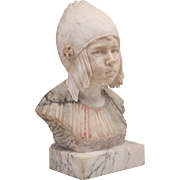 19th C. Marble and Alabaster Hand Carved Italian Bust of Child