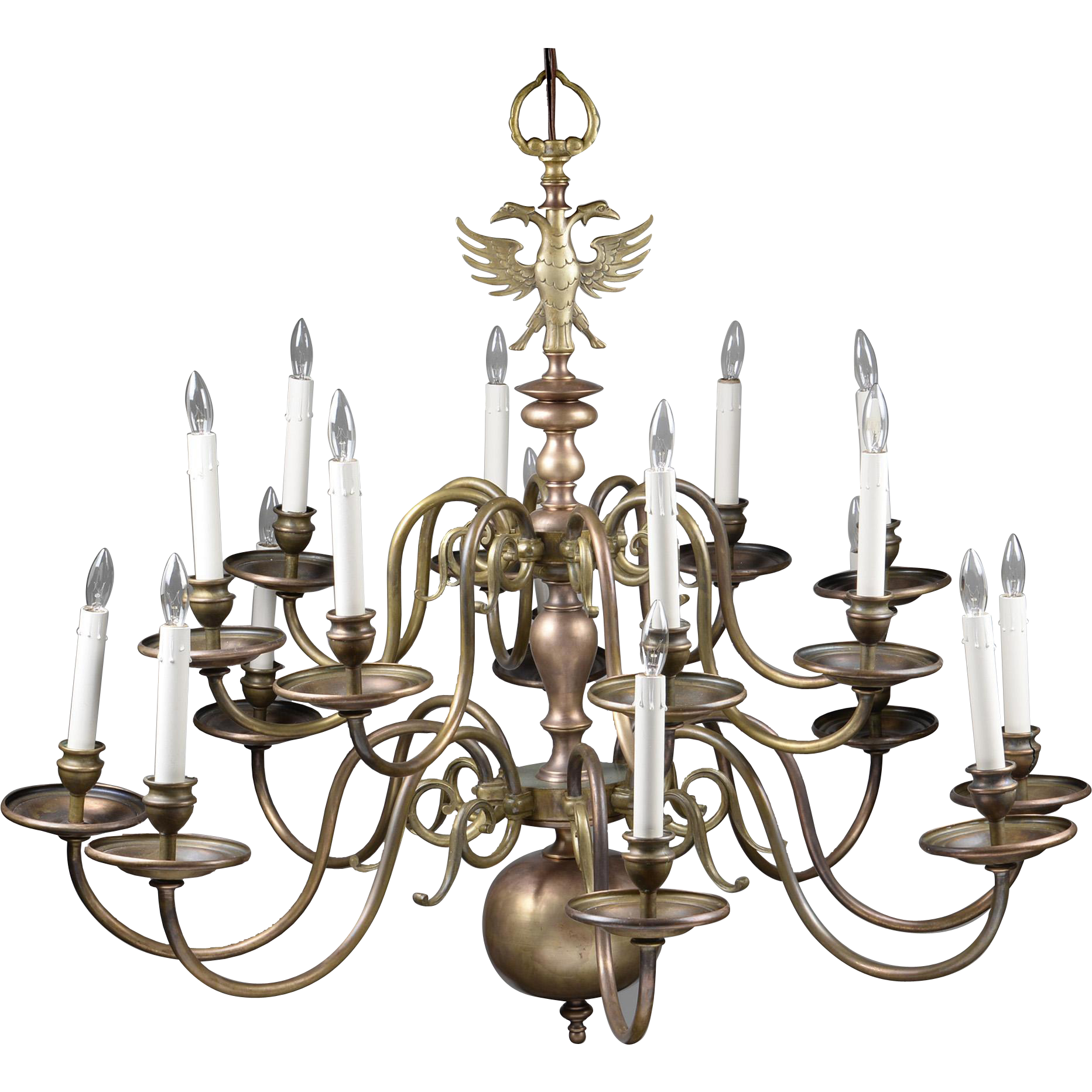 Early 20th C. 16-Light Brass Flemish Chandelier with Double Eagle