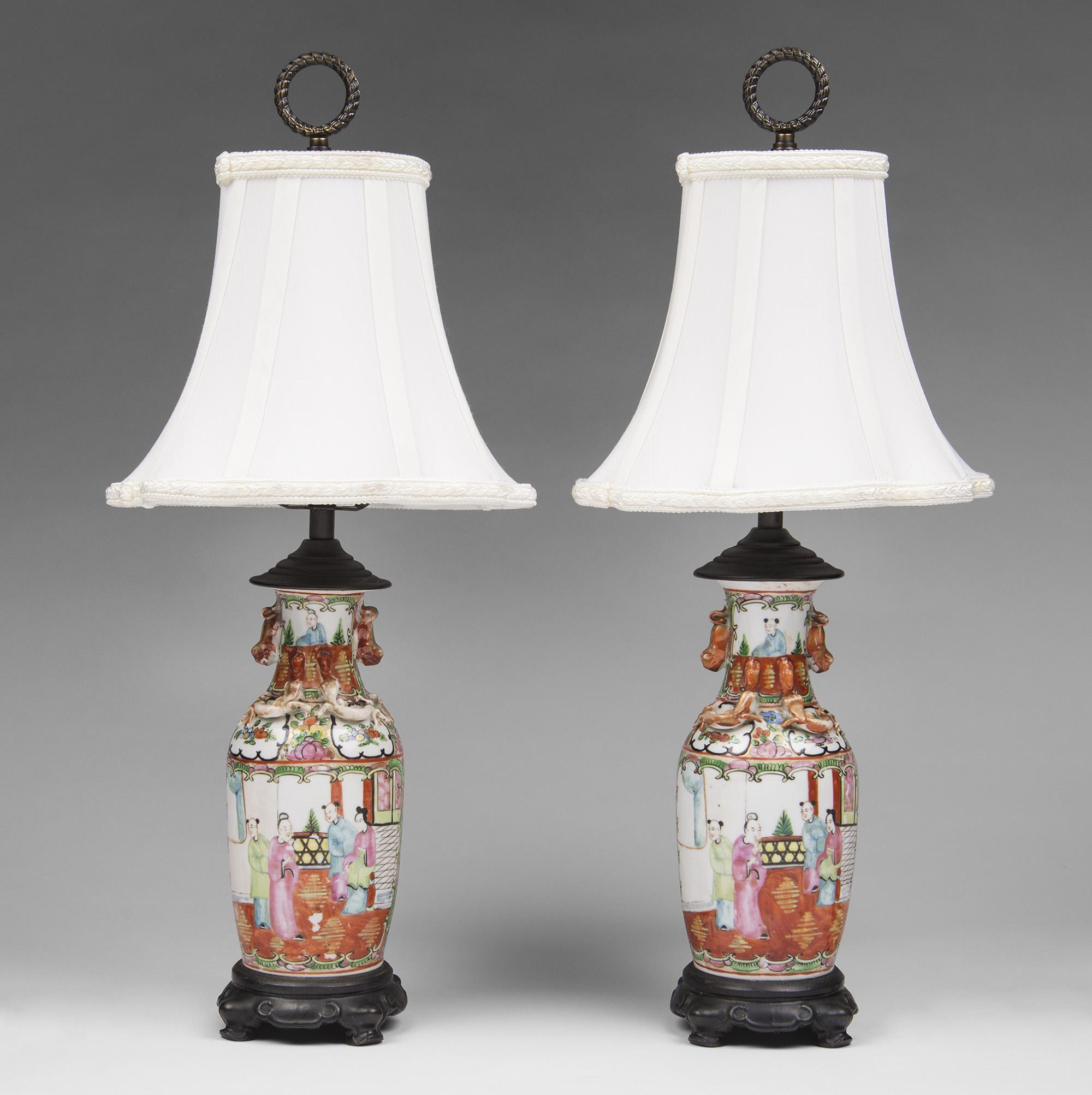 Pair of Matching 19th C. Famille Rose Chinese Export Lamps