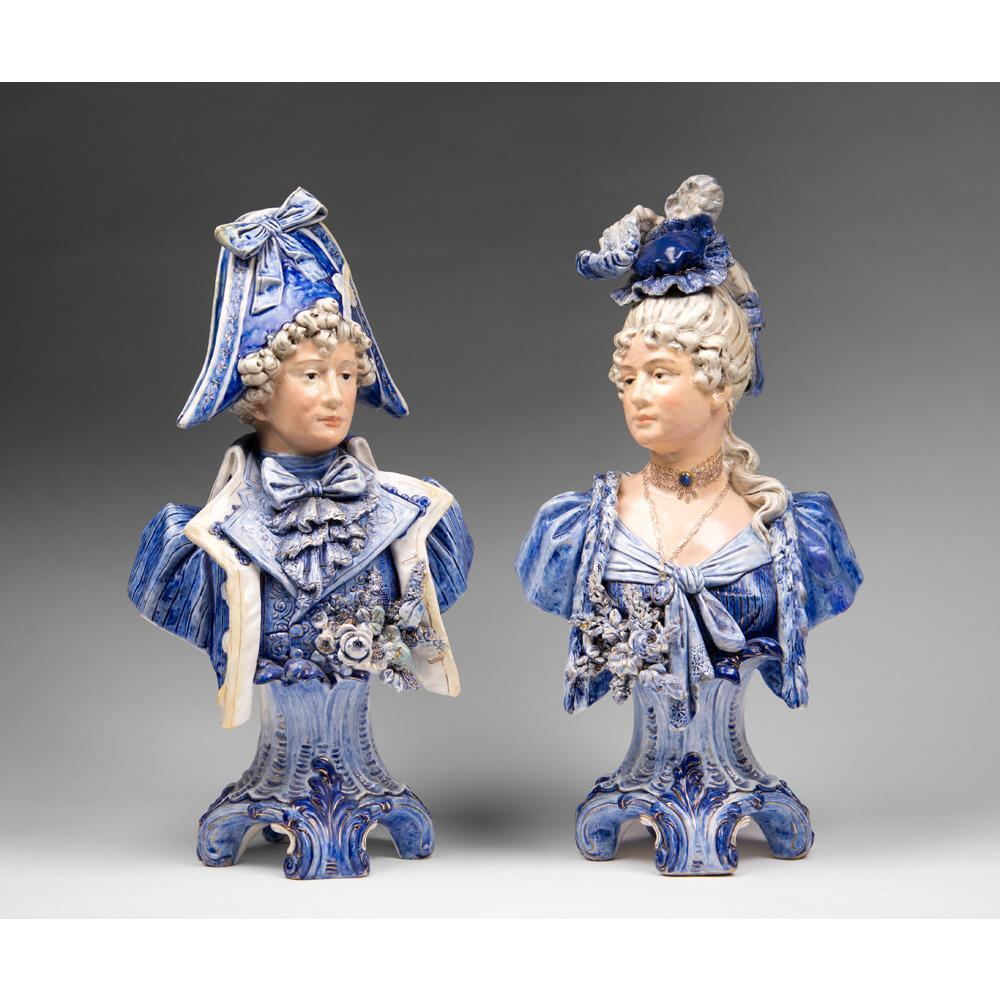 Pair of 19th C. Continental Porcelain Figural Busts