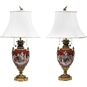 19th C. Neoclassical Pairs Porcelain Ormolu Mounted Grisaille Painted Lamps