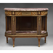 French Ormolu Mahogany Console Desserte After Henry Dasson, Paris