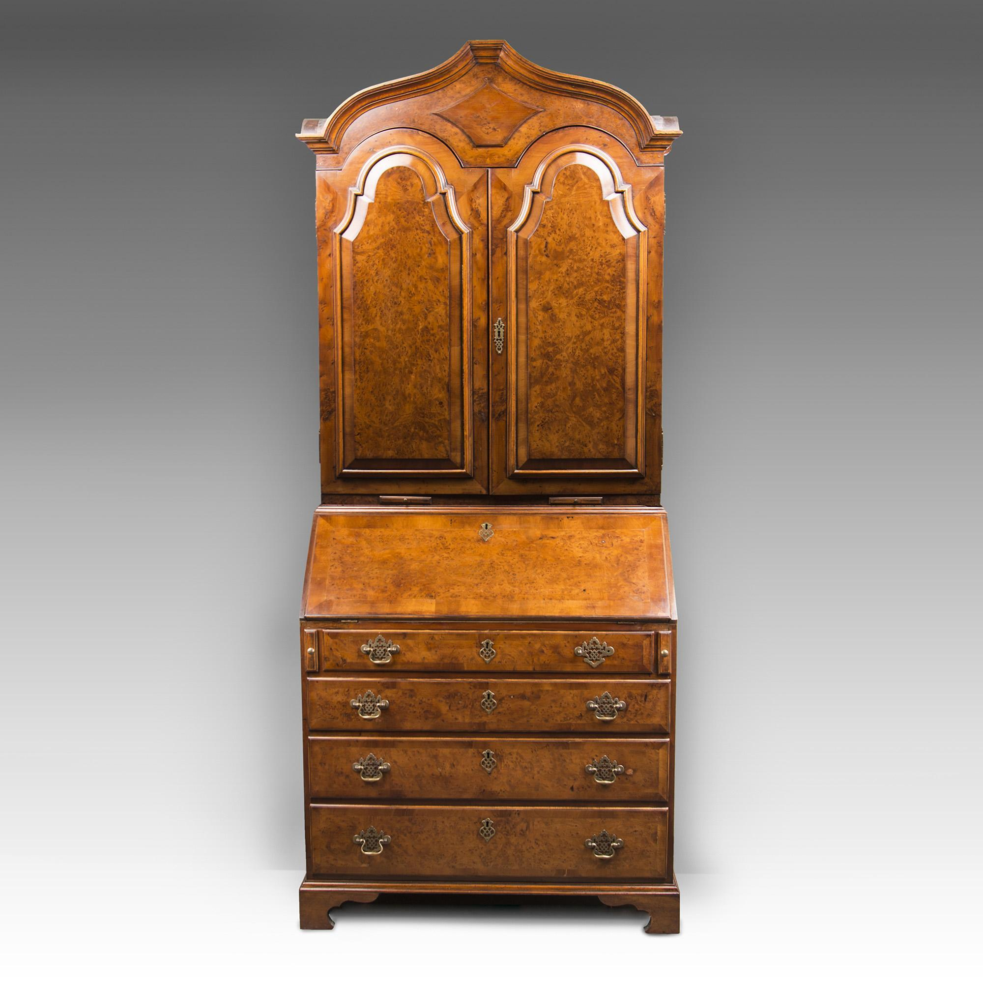 George III Style English Burr Walnut Secretary Bookcase With Fitted Interior