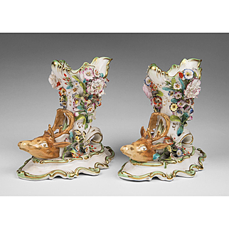 Pair of Early 19th C. English Porcelain Floral Encrusted Stag Head Libation Cups