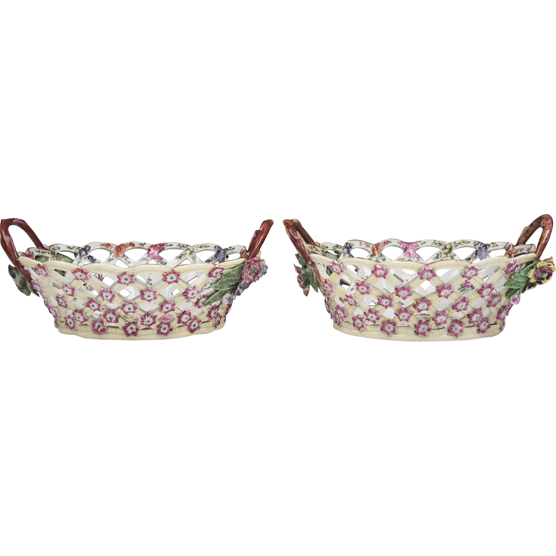 Pair of First Period Worcester Botanical Porcelain Baskets, 1770