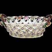 First Period Worcester Porcelain Botanical Pierced Basket, 1775