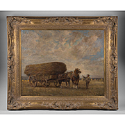 John Pedder Oil On Canvas Of Hay Wagon