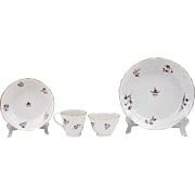 Early 19th C. Worcester Flight & Barr 4 Piece Dessert Ensemble