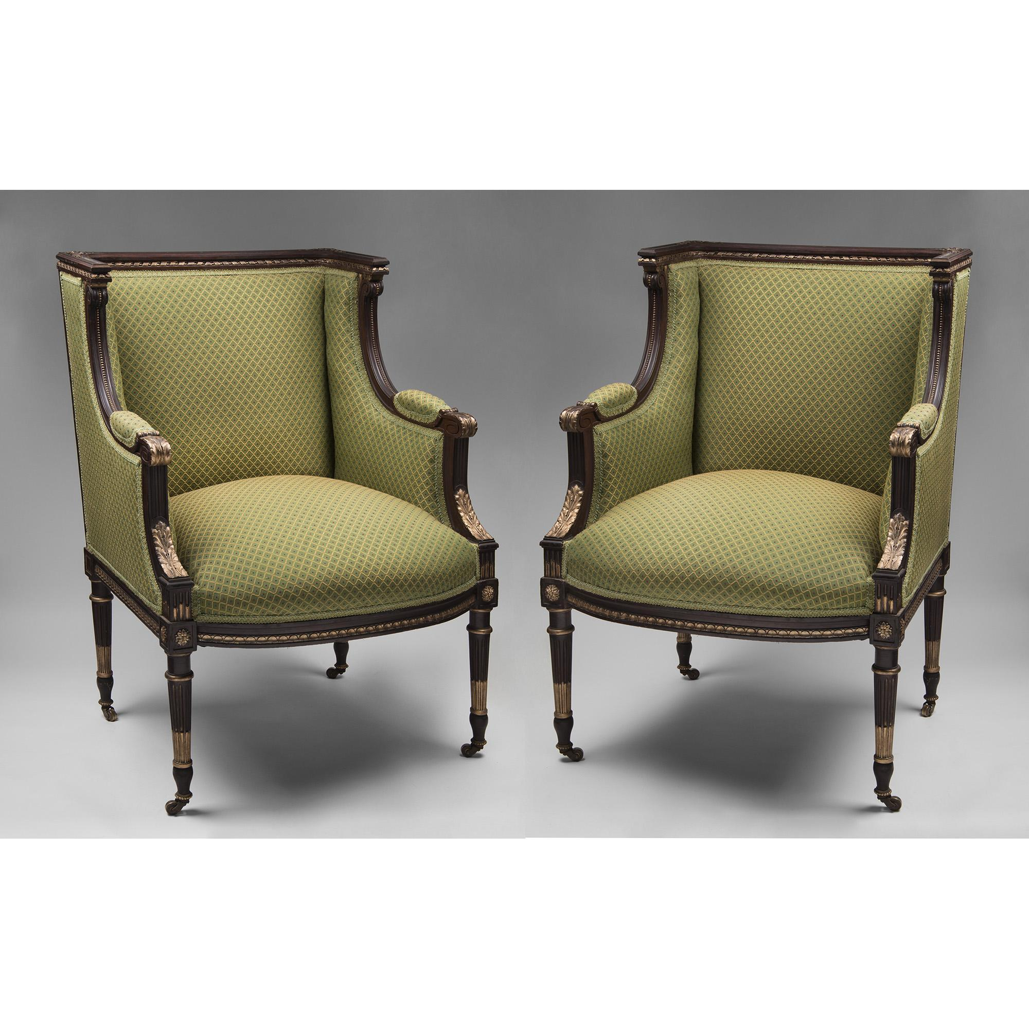 Pair of 19th C. Hand Carved French Louis XVI Bergeres