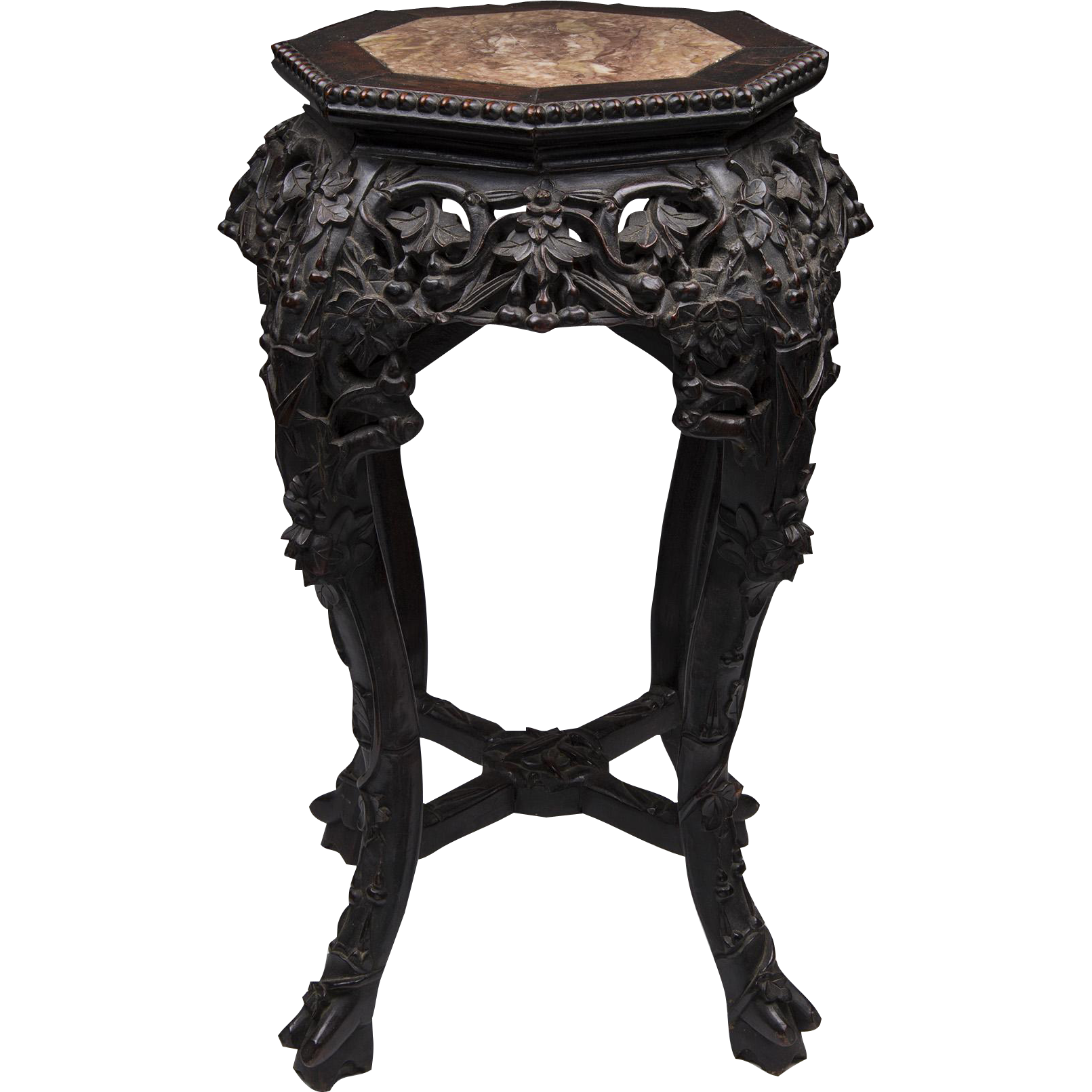 Late 19th C. Hand Carved Hardwood Chinese Stand With Inset Marble Top