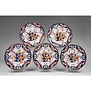 1800-25 set of 5 Derby Imari Dinner Plates, King's Pattern