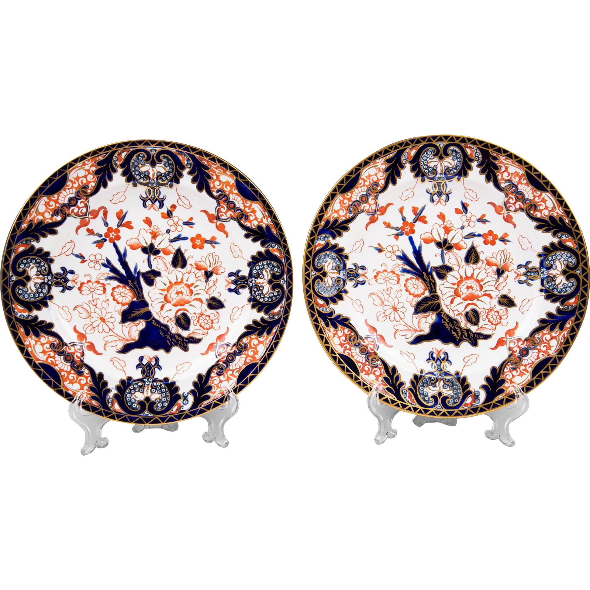 Pair of King's Pattern Royal Crown Derby Dinner Plates