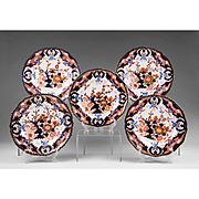 Set of 5 Derby Imari Dinner Plates, 1800-25, King's Pattern